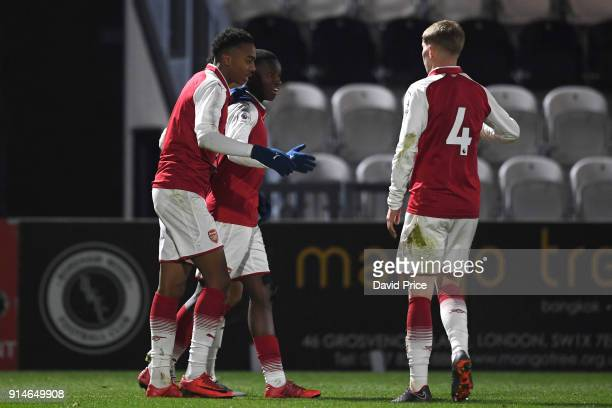 Eddie Nketiah celebrates scoring Arsenal's 3rd goal his 2nd with Joe Willock and Emile Smith Rowe during the Premier League 2 match between Arsenal...