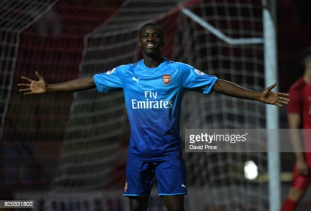 Eddie Nketiah celebrates scoring Arsenal's 5th goal during the match between Leyton Orient and Arsenal U23 at Brisbane Road on August 1 2017 in...