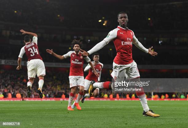 Eddie Nketiah celebrates scoring for Arsenal during the Carabao Cup Fourth Round match between Arsenal and Norwich City at Emirates Stadium on...