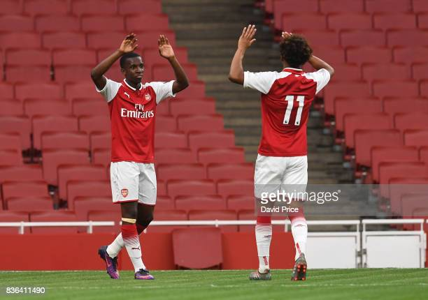 Eddie Nketiah celebrates scoring his 2nd goal for Arsenal during the match between Arsenal U23 and Manchester City U23 at Emirates Stadium on August...