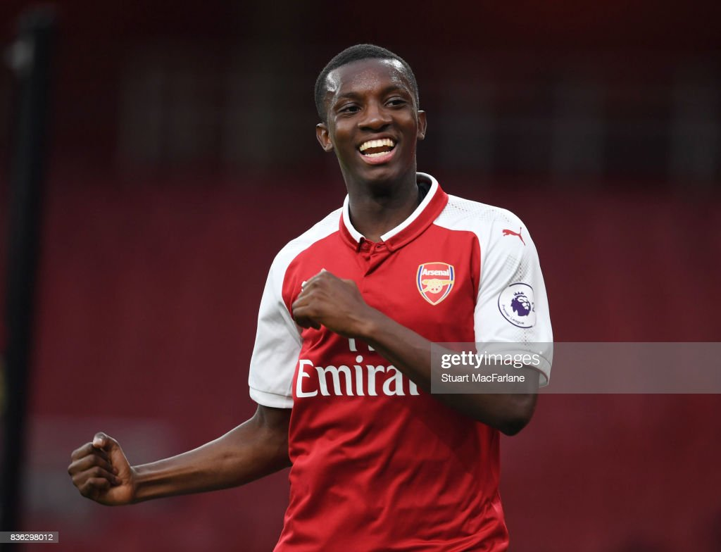 Eddie Nketiah celebrates scoring the 2nd Arsenall goal during the Premier League 2 match between Arsenal and Manchester City at Emirates Stadium on August 21, 2017 in London, England.