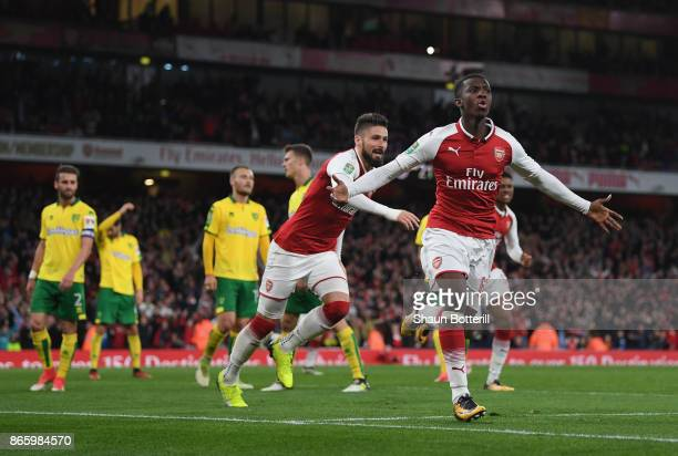Eddie Nketiah celebrates scoring the first Arsenal goalduring the Carabao Cup fourth round match between Arsenal and Norwich City at Emirates Stadium...