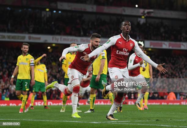 Eddie Nketiah celebrates scoring the first Arsenal goal during the Carabao Cup fourth round match between Arsenal and Norwich City at Emirates...