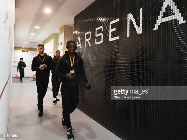 Eddie Nketiah in the Arsenal changing room before UEFA Europa League Round of 32 match between Arsenal and Ostersunds FK at the Emirates Stadium on...