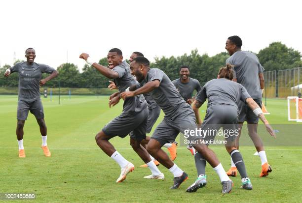 Eddie Nketiah Jeff ReineAdelaide and Alex Lacazette of Arsenal during a training session at London Colney on July 20 2018 in St Albans England