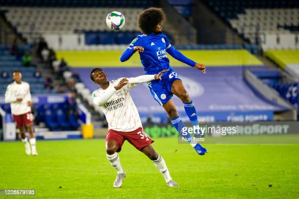 Eddie Nketiah of Arsenal and Hamza Choudhury of Leicester City during the Carabao Cup match between Leicester City and Arsenal at the King Power...