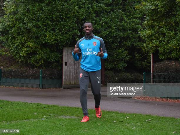 Eddie Nketiah of Arsenal before a training session at London Colney on January 23 2018 in St Albans England