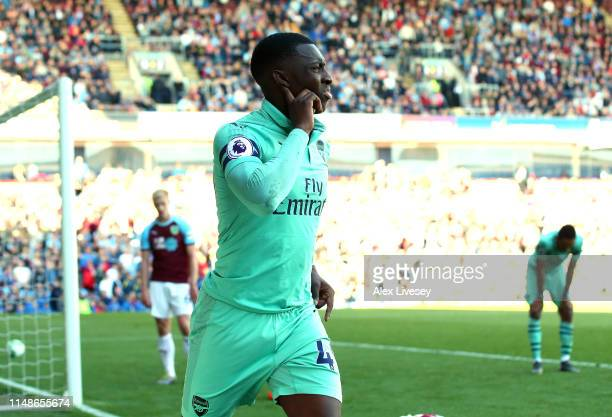 Eddie Nketiah of Arsenal celebrates after scoring his goal during the Premier League match between Burnley FC and Arsenal FC at Turf Moor on May 12,...