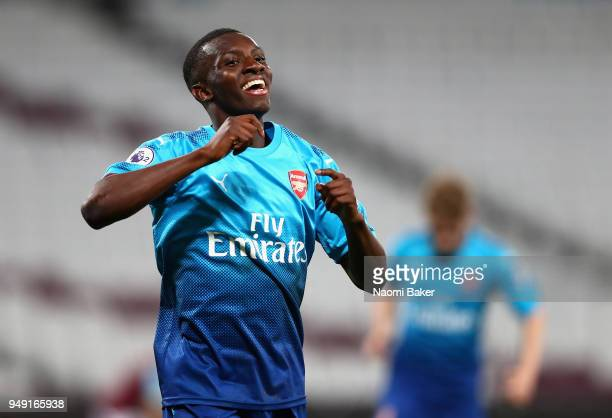 Eddie Nketiah of Arsenal celebrates after scoring his sides third goal during the Premier League 2 match between West Ham United and Arsenal at...