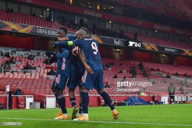 Eddie Nketiah of Arsenal celebrates after scoring his teams third goal with team mates during the UEFA Europa League Group B stage match between...