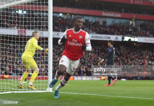 Eddie Nketiah of Arsenal celebrates after scoring the first goal for his team during the Premier League match between Arsenal FC and Everton FC at...