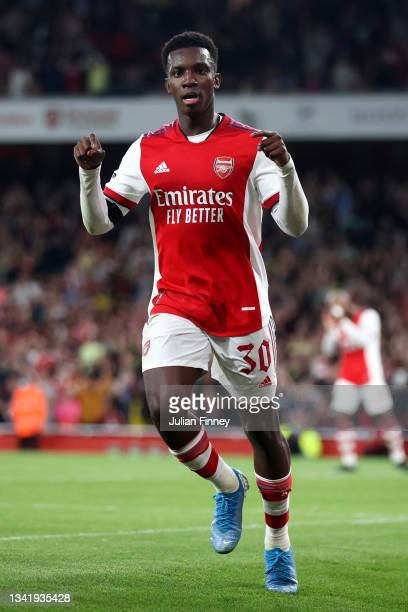 Eddie Nketiah of Arsenal celebrates after scoring their team's third goal during the Carabao Cup Third Round match between Arsenal and AFC Wimbledon...