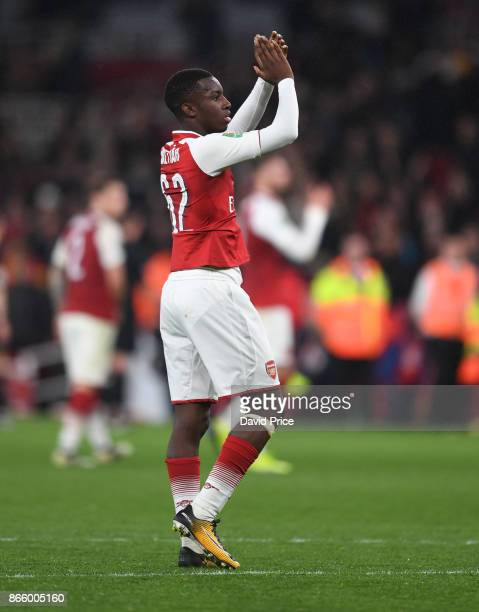 Eddie Nketiah of Arsenal claps the fans after the Carabao Cup Fourth Round match between Arsenal and Norwich City at Emirates Stadium on October 24...