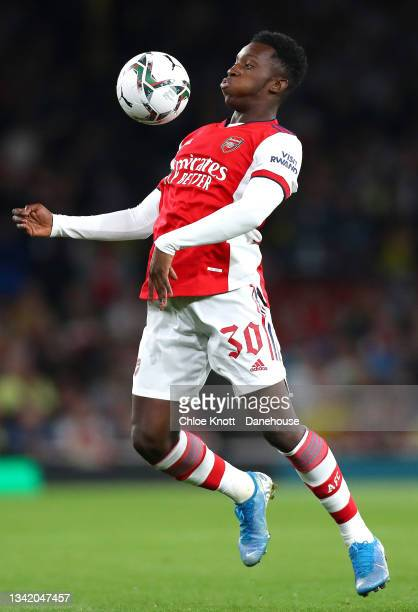Eddie Nketiah of Arsenal controls the ball during the Carabao Cup Third Round match between Arsenal and AFC Wimbledon at Emirates Stadium on...