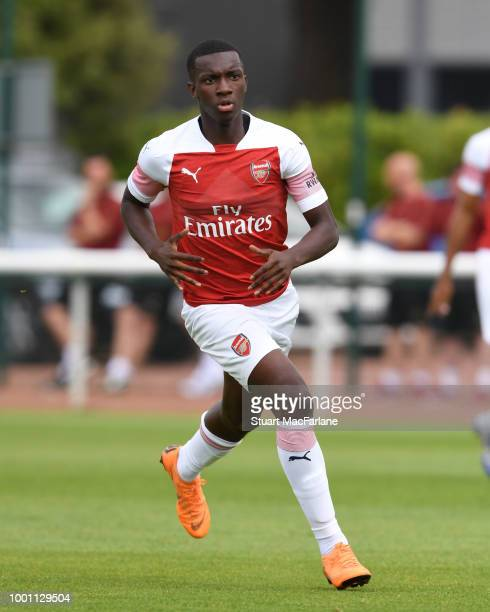 Eddie Nketiah of Arsenal during a pre season friendley between Arsenal and Crawley Town at London Colney on July 18 2018 in St Albans England