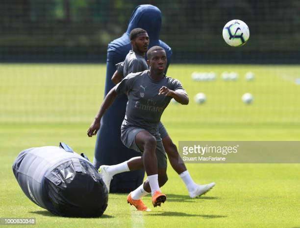 Eddie Nketiah of Arsenal during a training session at London Colney on July 17 2018 in St Albans England