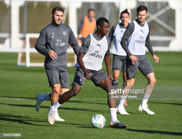 Eddie Nketiah of Arsenal during a training session at London Colney on September 25 2018 in St Albans England