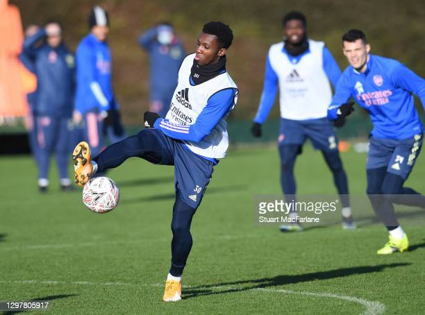 Eddie Nketiah of Arsenal during a training session at London Colney on January 22, 2021 in St Albans, England.