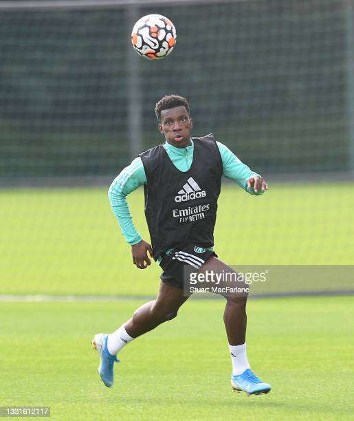 Eddie Nketiah of Arsenal during a training session at London Colney on July 30, 2021 in St Albans, England.