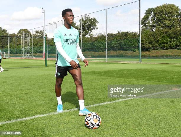 Eddie Nketiah of Arsenal during a training session at London Colney on September 17, 2021 in St Albans, England.