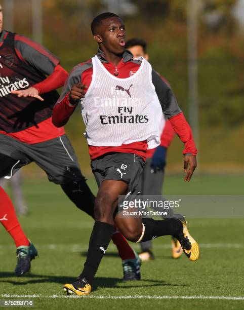 Eddie Nketiah of Arsenal during a training session at London Colney on November 17 2017 in St Albans England