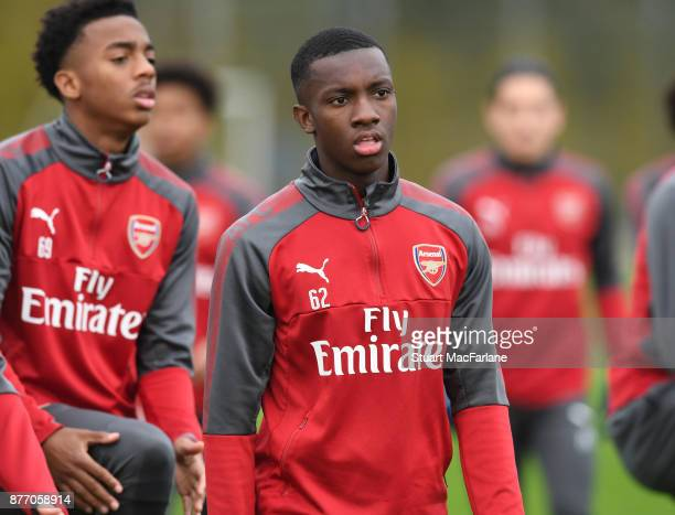 Eddie Nketiah of Arsenal during a training session at London Colney on November 21 2017 in St Albans England