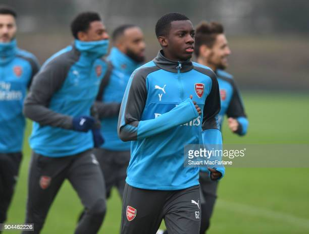 Eddie Nketiah of Arsenal during a training session at London Colney on January 13 2018 in St Albans England