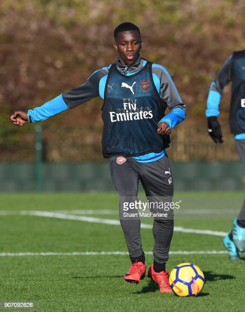 Eddie Nketiah of Arsenal during a training session at London Colney on January 19 2018 in St Albans England