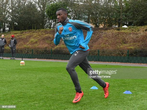 Eddie Nketiah of Arsenal during a training session at London Colney on January 23 2018 in St Albans England