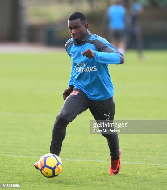 Eddie Nketiah of Arsenal during a training session at London Colney on February 2 2018 in St Albans England