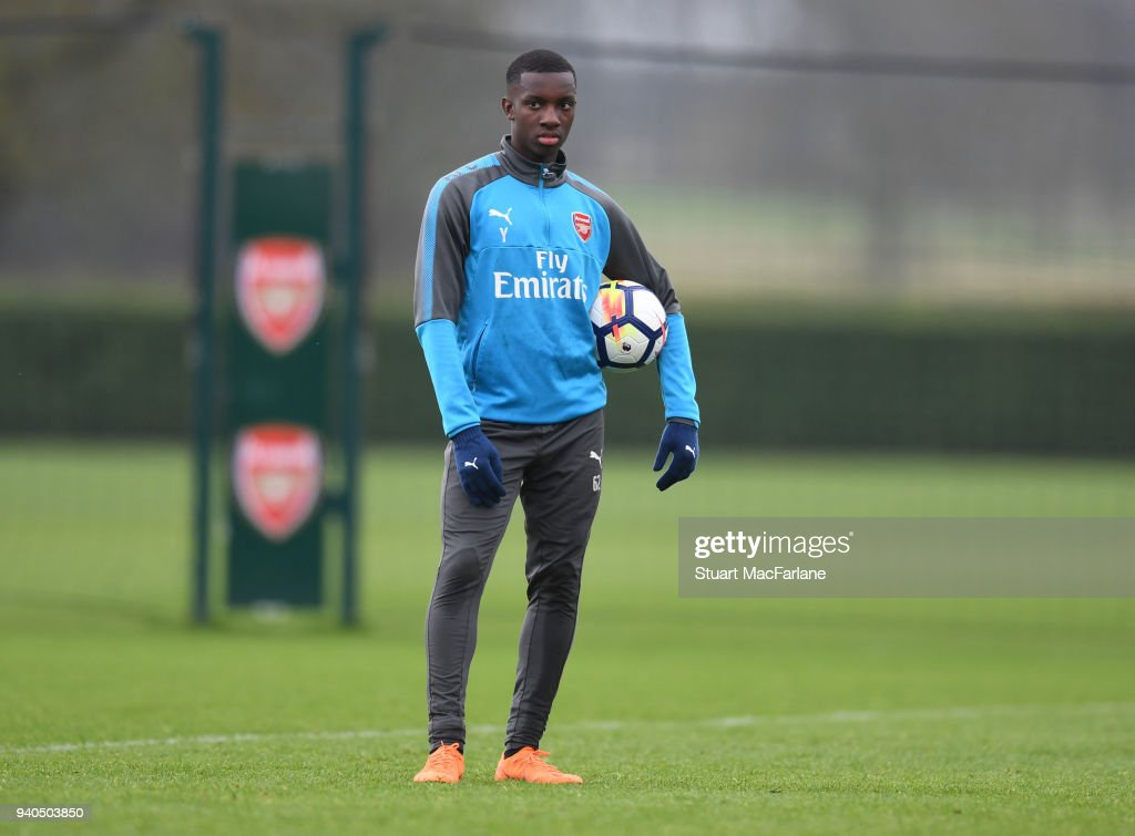 Eddie Nketiah of Arsenal during a training session at London Colney on March 31, 2018 in St Albans, England.