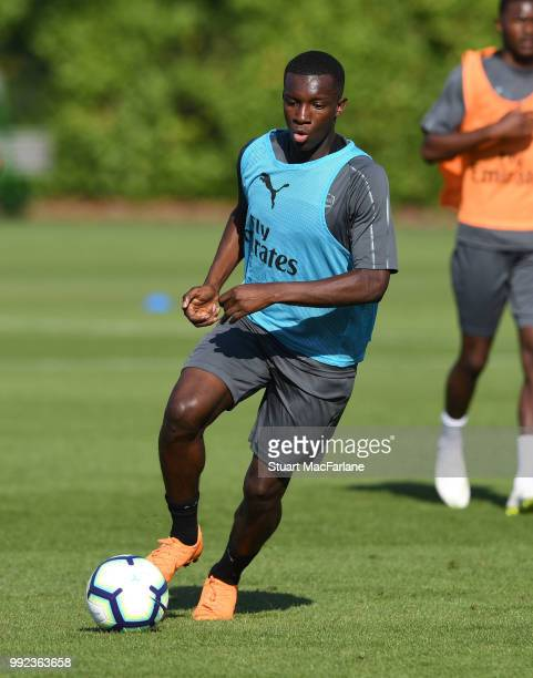 Eddie Nketiah of Arsenal during a training session at London Colney on July 5 2018 in St Albans England