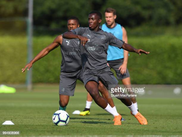 Eddie Nketiah of Arsenal during a training session at London Colney on July 9 2018 in St Albans England