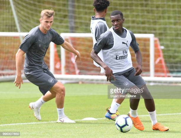 Eddie Nketiah of Arsenal during a training session at London Colney on July 11 2018 in St Albans England