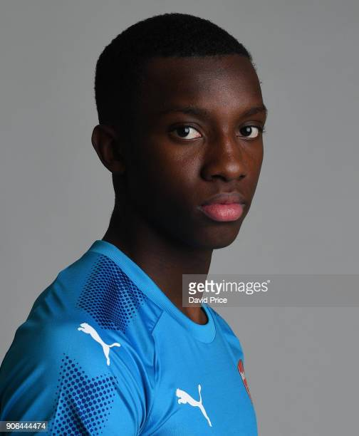 Eddie Nketiah of Arsenal during an Arsenal Magazine Photoshoot at London Colney on January 8 2018 in St Albans England