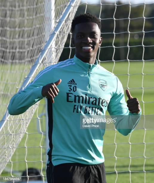 Eddie Nketiah of Arsenal during the Arsenal 1st team training session at London Colney on October 21, 2021 in St Albans, England.