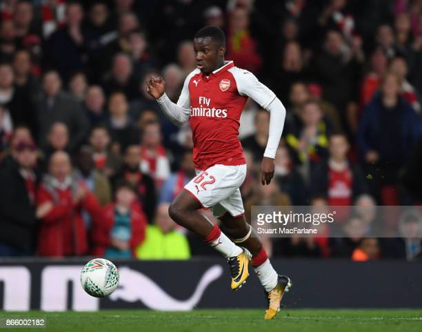 Eddie Nketiah of Arsenal during the Carabao Cup Fourth Round match between Arsenal and Norwich City at Emirates Stadium on October 24 2017 in London...