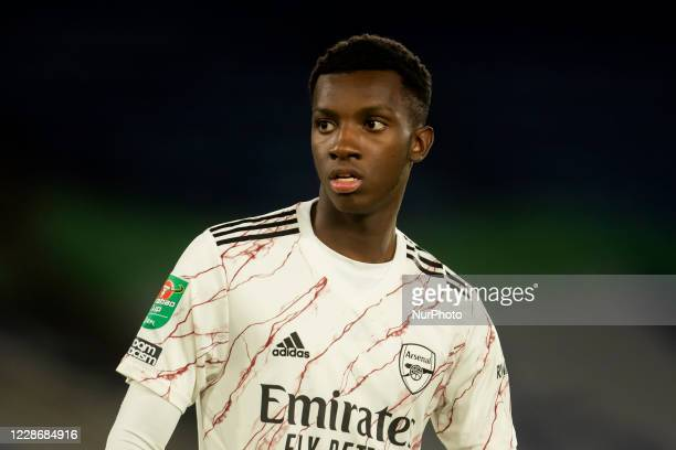 Eddie Nketiah of Arsenal during the Carabao Cup match between Leicester City and Arsenal at the King Power Stadium Leicester England on 23rd...