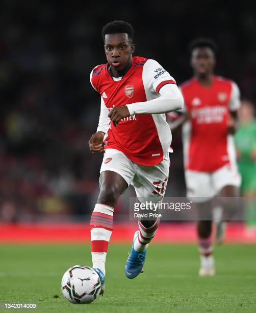 Eddie Nketiah of Arsenal during the Carabao Cup Third Round match between Arsenal and AFC Wimbledon at Emirates Stadium on September 22, 2021 in...