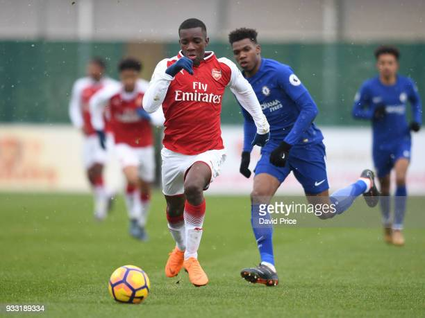 Eddie Nketiah of Arsenal during the match between Arsenal U23 and Chelsea U23 at London Colney on March 17 2018 in St Albans England