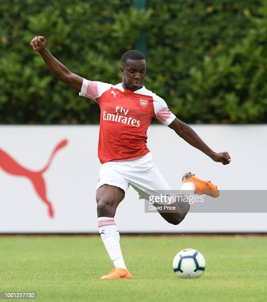 Eddie Nketiah of Arsenal during the match between Arsenal XI and Crawley Town XI at London Colney on July 18 2018 in St Albans England