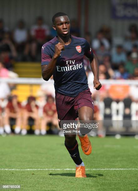 Eddie Nketiah of Arsenal during the match between Borehamwood and Arsenal at Meadow Park on July 14 2018 in Borehamwood England