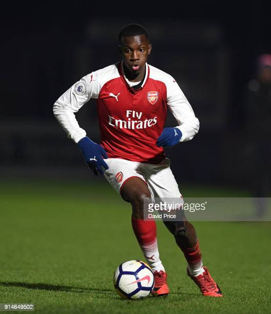 Eddie Nketiah of Arsenal during the Premier League 2 match between Arsenal and Everton at Meadow Park on February 5 2018 in Borehamwood England