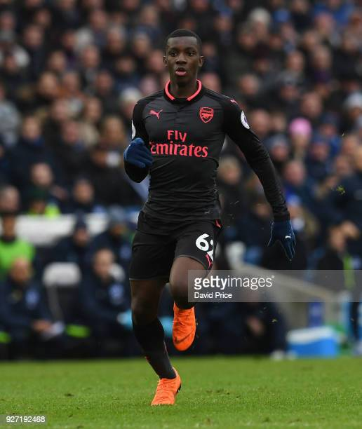 Eddie Nketiah of Arsenal during the Premier League match between Brighton and Hove Albion and Arsenal at Amex Stadium on March 4 2018 in Brighton...