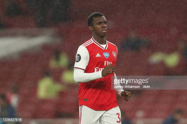 Eddie Nketiah of Arsenal during the Premier League match between Arsenal FC and Leicester City at Emirates Stadium on July 7 2020 in London United...