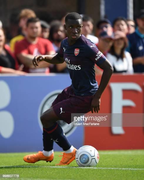 Eddie Nketiah of Arsenal during the preseason friendly between Boreham Wood and Arsenal at Meadow Park on July 14 2018 in Borehamwood England