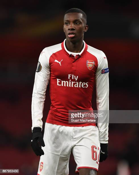 Eddie Nketiah of Arsenal during the UEFA Europa League group H match between Arsenal FC and BATE Borisov at Emirates Stadium on December 7 2017 in...
