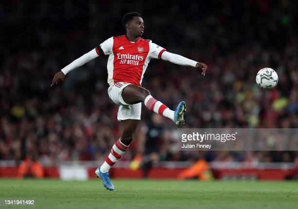 Eddie Nketiah of Arsenal in action during the Carabao Cup Third Round match between Arsenal and AFC Wimbledon at Emirates Stadium on September 22,...