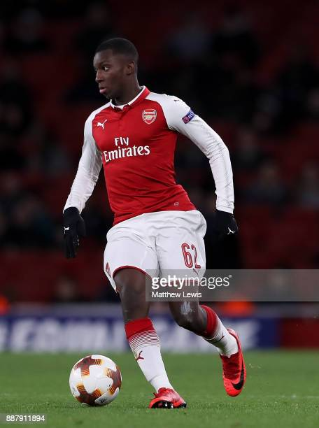 Eddie Nketiah of Arsenal in action during the UEFA Europa League group H match between Arsenal FC and BATE Borisov at Emirates Stadium on December 7...