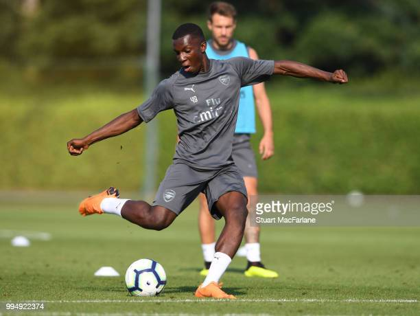 Eddie Nketiah of Arsenal kicks the ball during a training session at London Colney on July 9 2018 in St Albans England